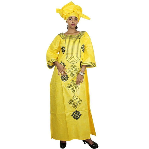 African Embroidered Bazin Riche Dress for Women X21194