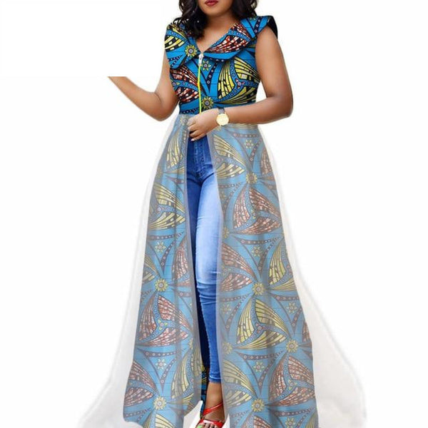 African Women Ankara Sleeveless Prom Dress Top with  X10392
