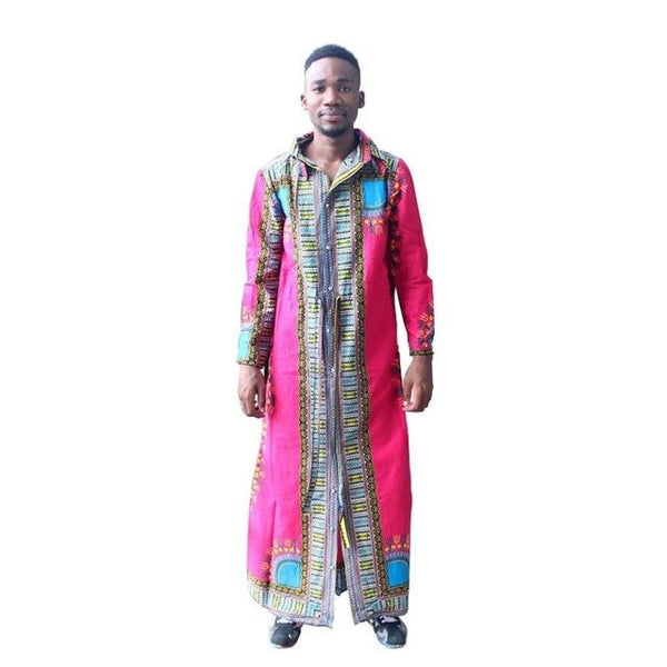 Unisex African Dashiki Long Sleeve Kaftan Long Robe with Girdle Belt Y10562