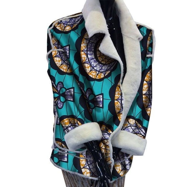 Customized African Prints Winter Coat With Fur for Women X10415