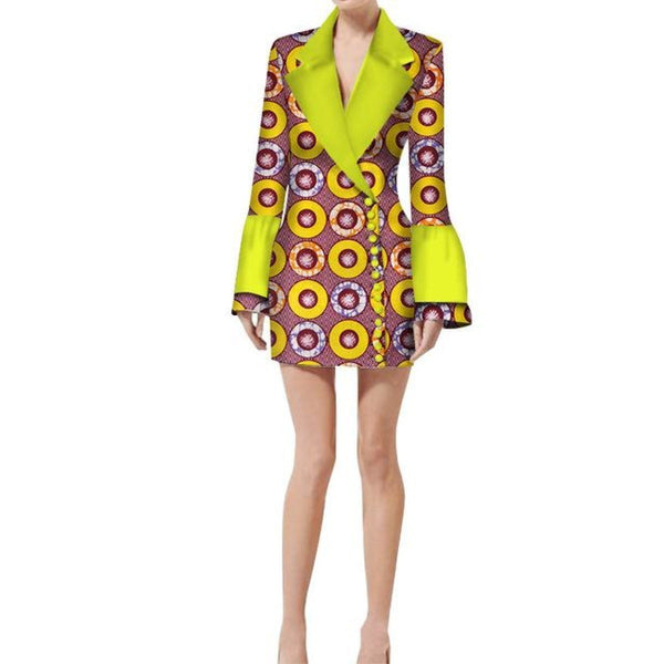 Kitenge Africa Print Trench coat Jacket for Women X10411