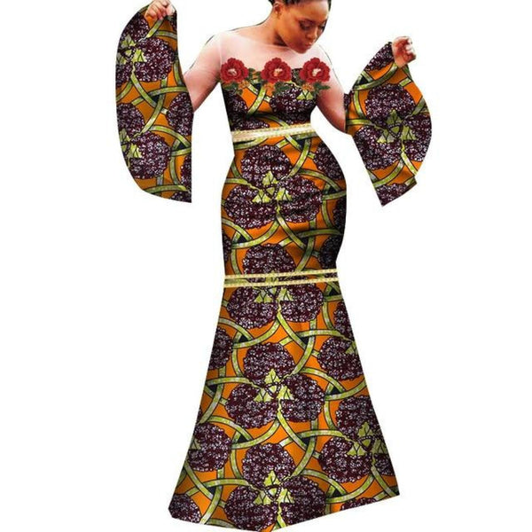 African Dashiki sexy dress With white gauze and Bell X11345