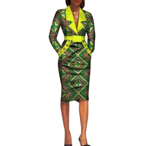 African Dashiki Ankara Long Sleeve office Dress Suit for X11075