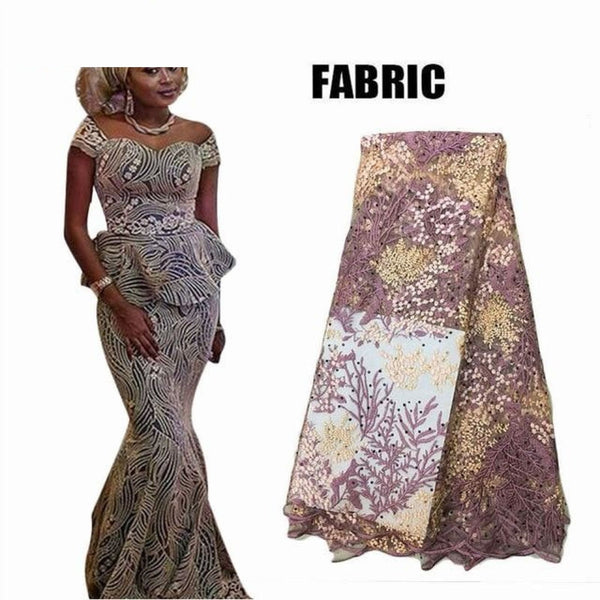 African Women Bazin Riche Lace Top and Floor-Length X30905