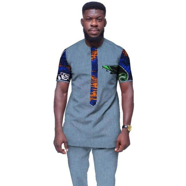 Mens African Clothing Plus Size 6Xl African Clothes O-Neck Mens Y10857