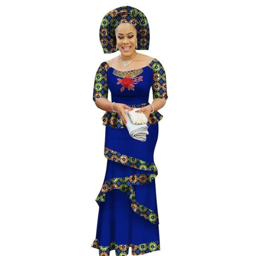African Clothing Half-Sleeve Style Long Dress For Women Cotton Print X11415