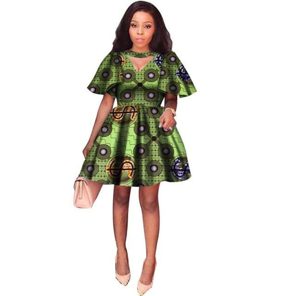 Traditional African Wax Print short sleeve short dress for X11086