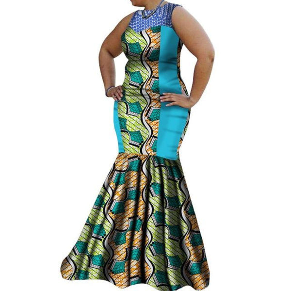 African Clothing For Women Dashiki Wax Print Sexy Maxi Party Dress Bazin X11432