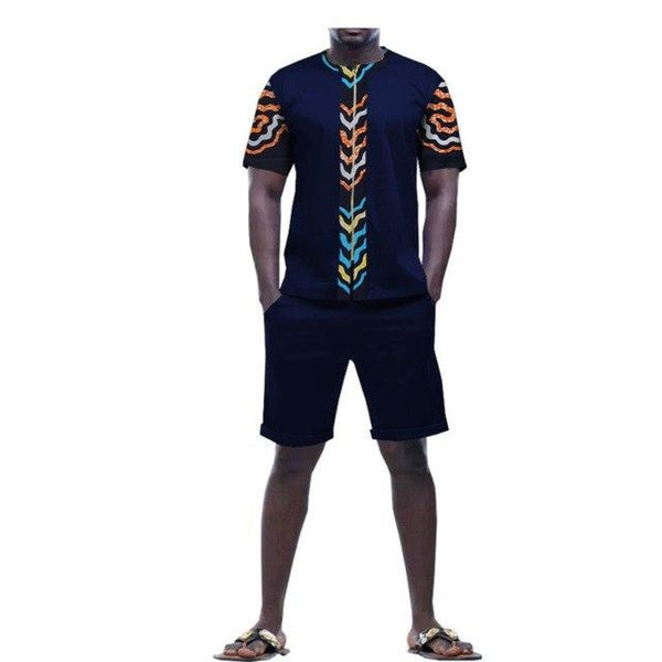 Dashiki African Men Wear Zipper Front T-Shirt+Knee-Length Short Pants Y10577