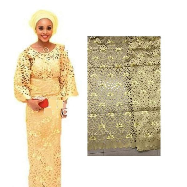 High Quality laser cut lace fabric nigeria aso ebi X31066