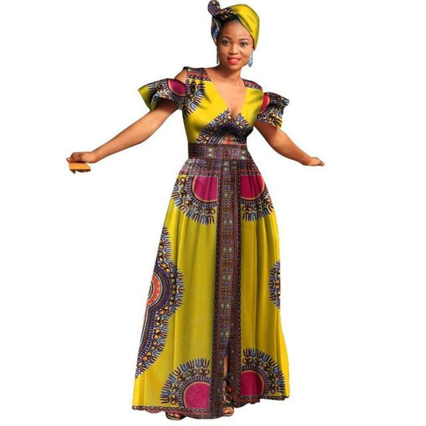 African Dashiki Bazin Wax Print V-Neck Long Dress  X11351