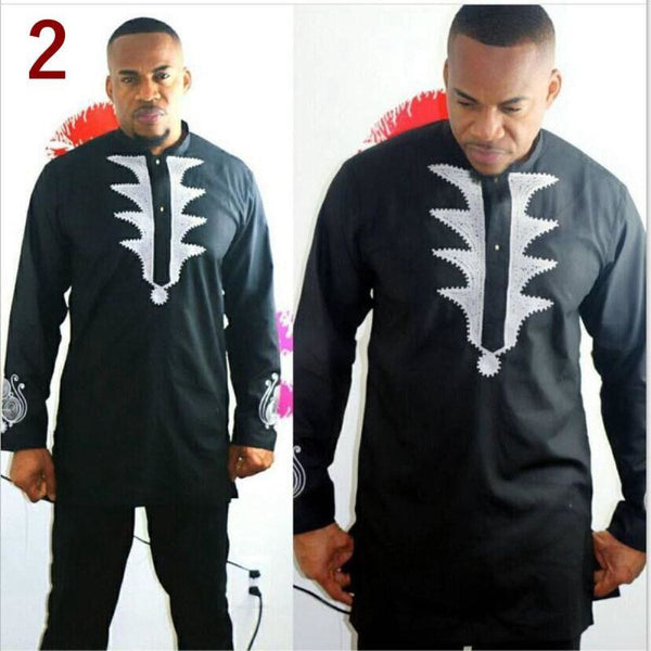 African Men Clothing Embroidered Black Brown dashiki Top-Pants 2 Y20724