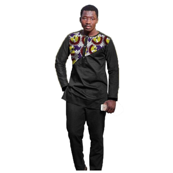 African Men Clothing Long Sleeve Top-Pants Set Black with Cotton Print Y10820