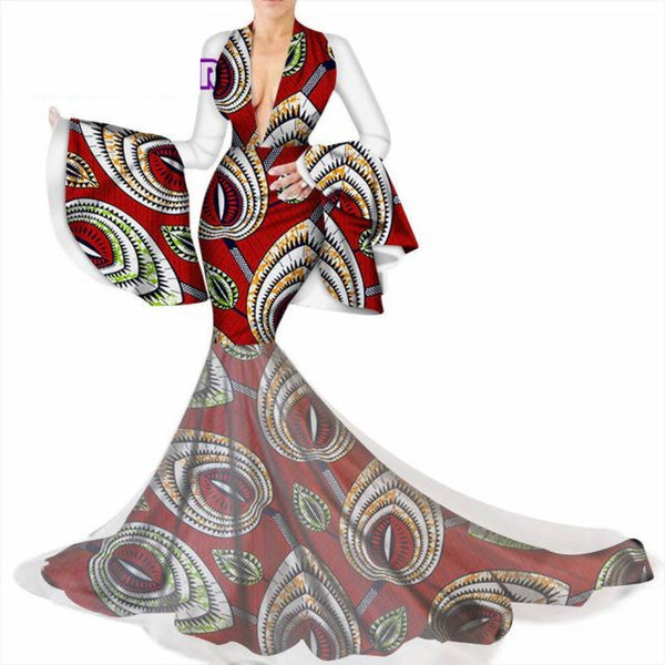 African Ankara Wax Print Long Dress with deep V-Neck for X11333