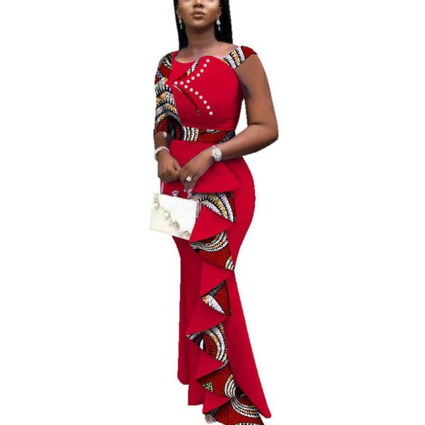 Dashiki 100% Cotton Wax African Summer Ankle-Length Dress For X11335