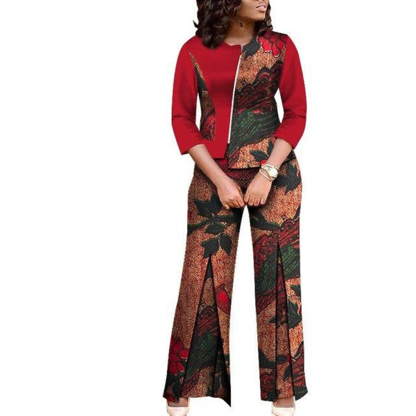 African WomenDashiki Cotton Wax Print Top and Pants Suit X11489
