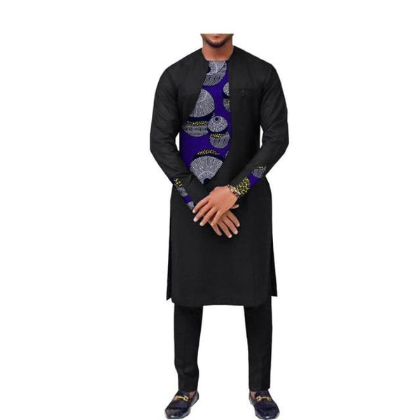 African Wax Clothing Men Long Sleeve O-Neck Knee-Length Top+Ankle-Length Y10835