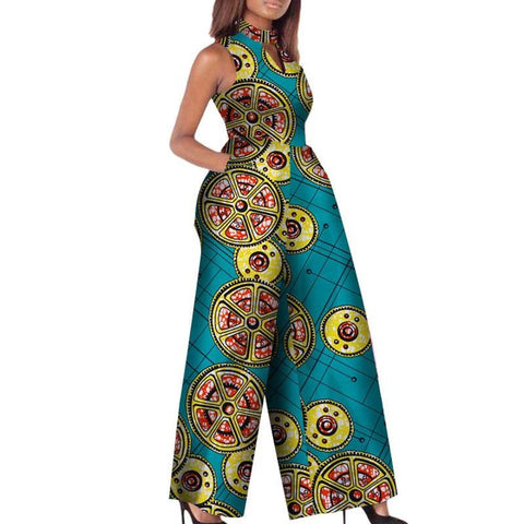 African Print Women Jumpsuit O-Neck Sleeveless Sexy Romper Wide Leg X11507