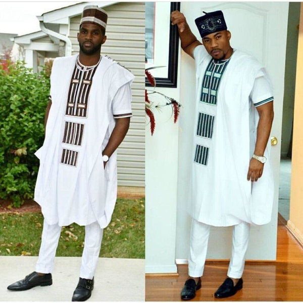 African Clothing Men Dashiki Embroidery Bazin White Inner + Outer Top Y20784