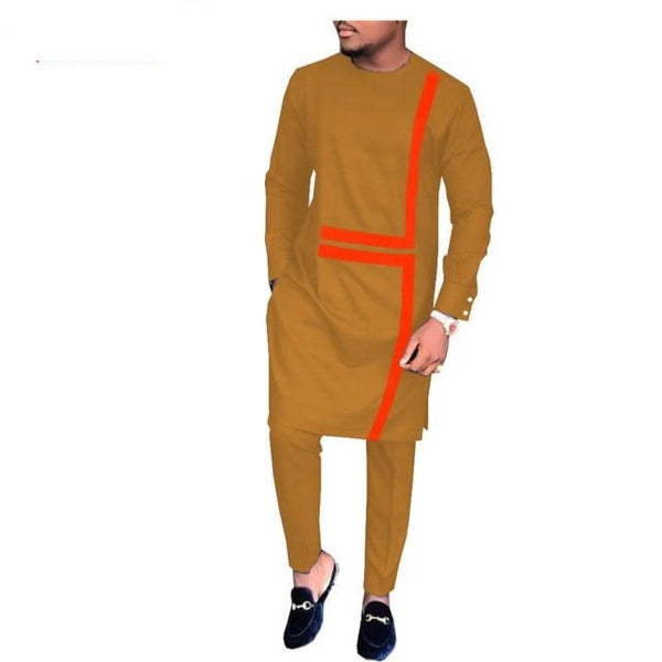 African Men Tailor-Made Full Sleeve Long Top+Full Length Pants Set Cotton Y10836