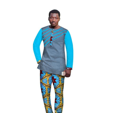 New Traditional African Clothing Men Clothes Cotton Top-Pants Sets Cotton Y10853