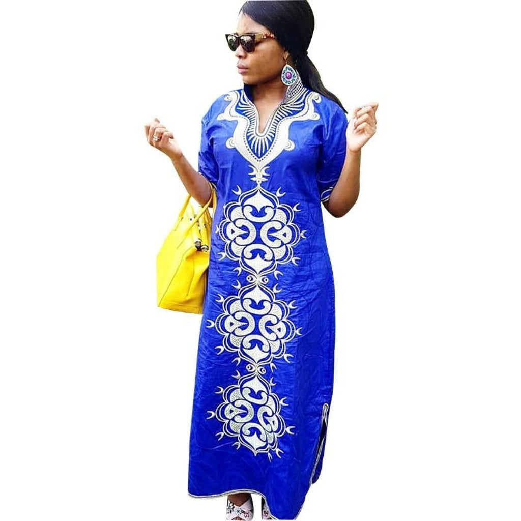 African Women Embroidered Bazin Blue Kaftan X21193