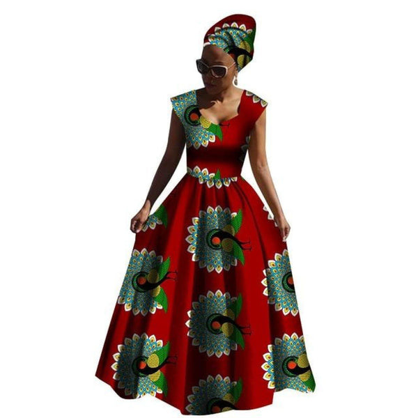 Kitenge African Wax Bell Style Maxi Dress for X11376