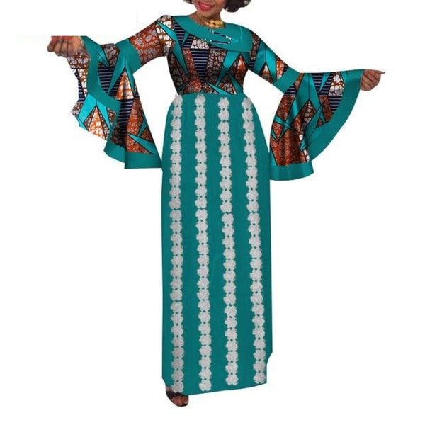 Elegant Maxi Long Flare Sleeve African Dresses Design for X11383