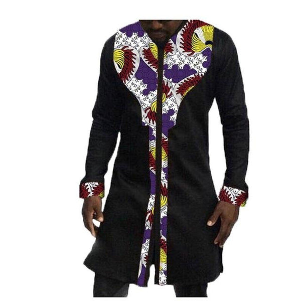 African Men Long Sleeve Long Black Top Cotton Stitching Batik  Y10475