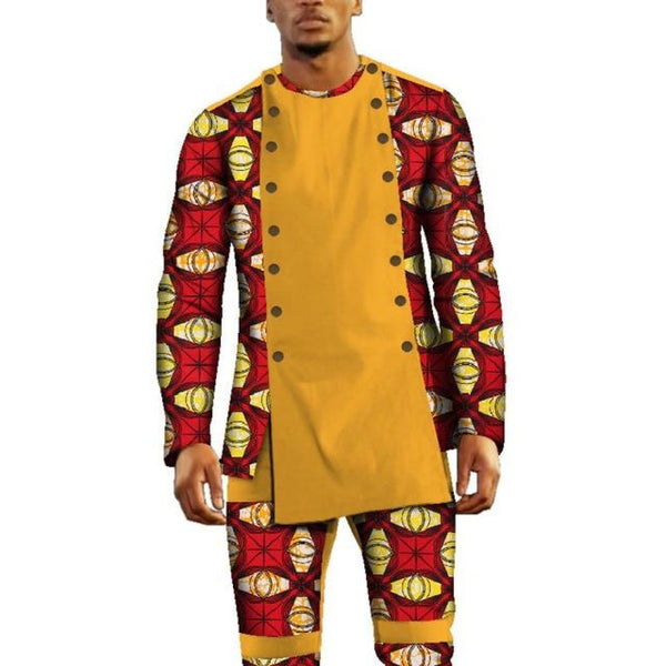 AfricanClothing Dashiki Bazin Riche Patchwork 2 Pieces Pants Sets for Y10793