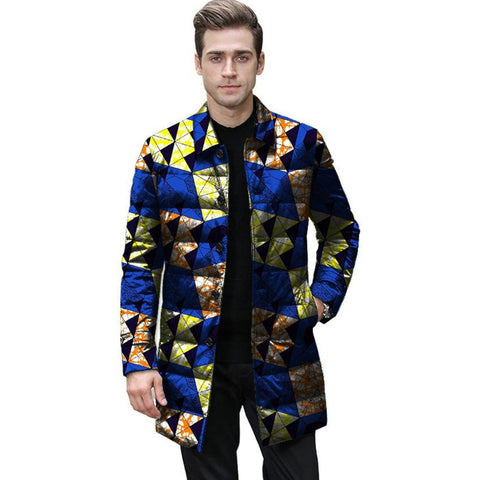 Thick and Warm African Print Winter Jacket for Men Y10512
