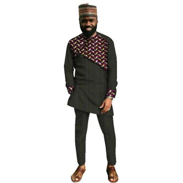 Traditional African Clothing For Men Cotton Patchwork Top and Pants Sets Y10810