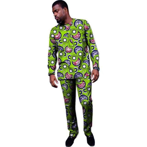 African Clothing Men Long Sleeve Dashiki Wax Print Top-Shirt and Y10815