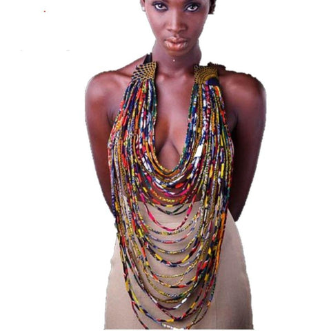 African Handmade Necklace Women Bohemia Rope Chain Statement Chain Cotton Q11760