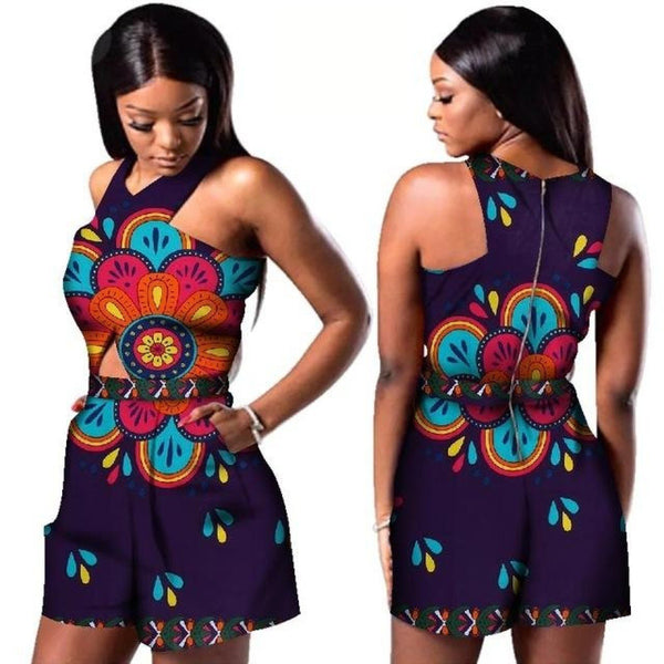 Women African Wax Print Dashiki Sleeveless Romper Jumpsuit Cloak X11488