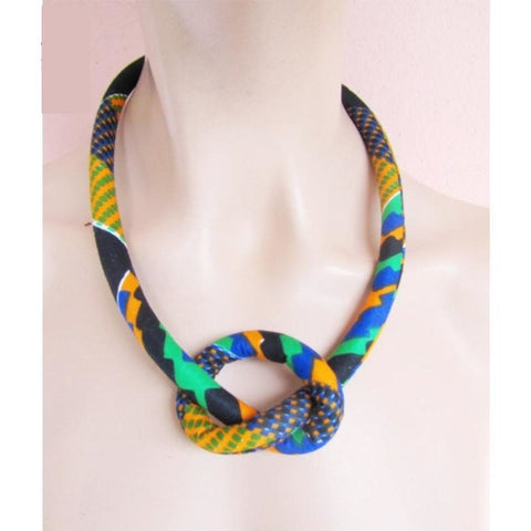 African Necklace Ankara Dashki Wax Chain Ethnic Handmade Jewelery Cotton Q11775
