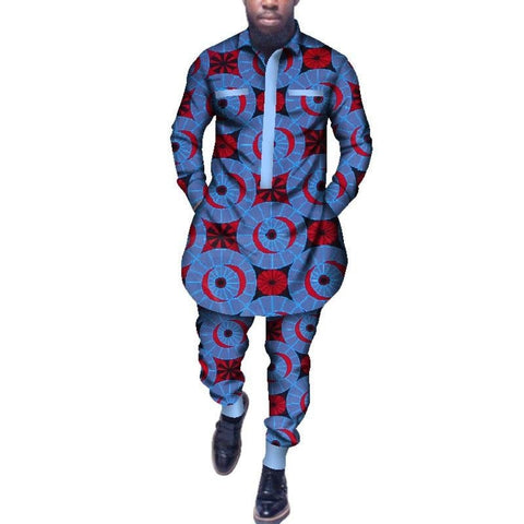 Traditional African Dashiki Shirt Pants Set for Y10803