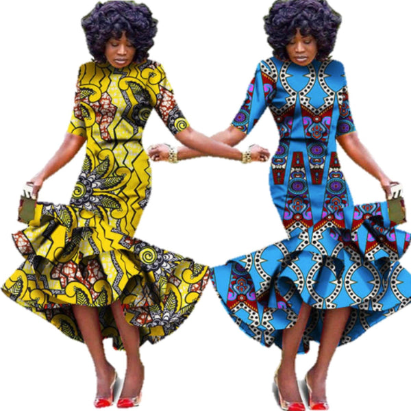Plus size Formal African Wax Print Dresses with Scarf For X11479