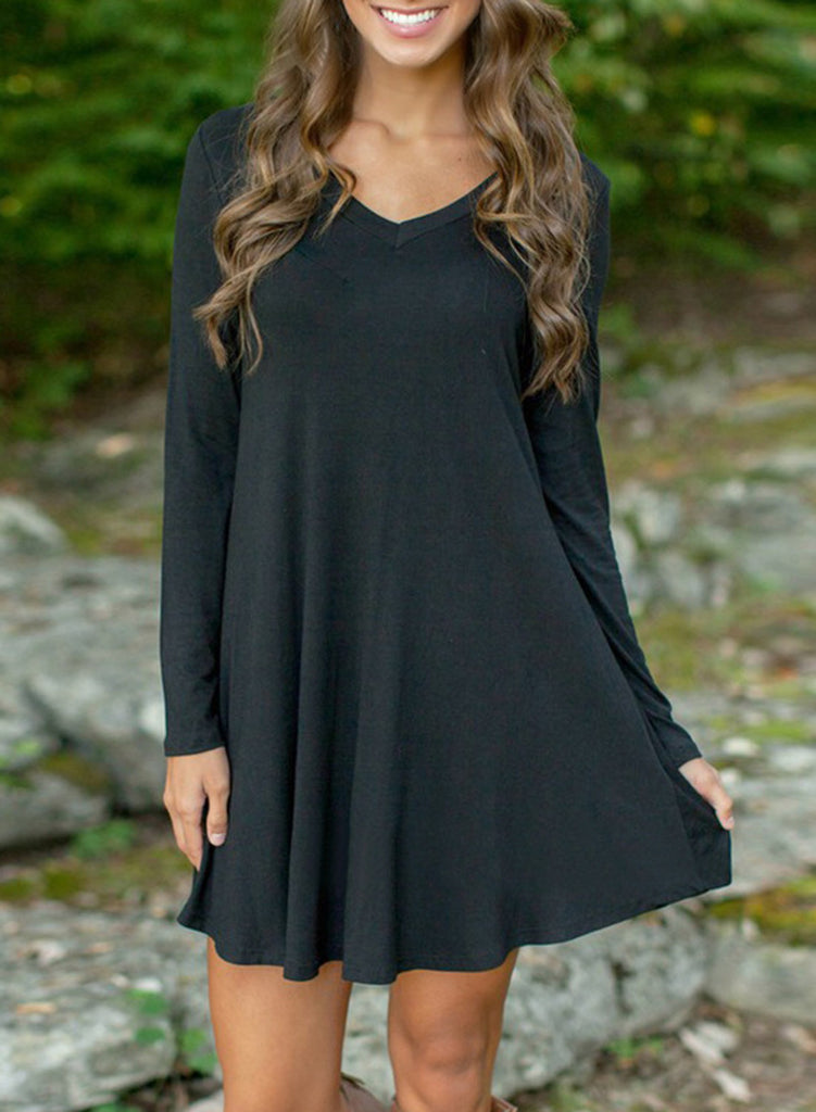 Black V Neck Long Sleeve Stretch Knit Trapeze Dress