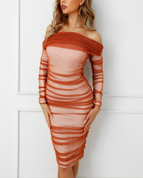 Off Shoulder Ruched Mesh Bodycon Dress