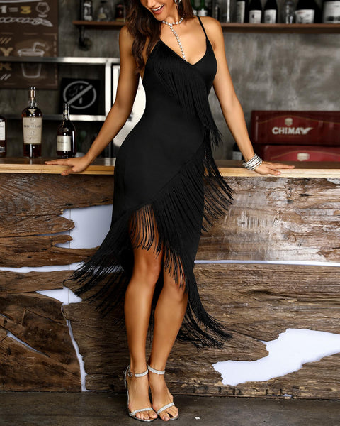 Tassel Design Spaghetti Strap Bodycon Dress