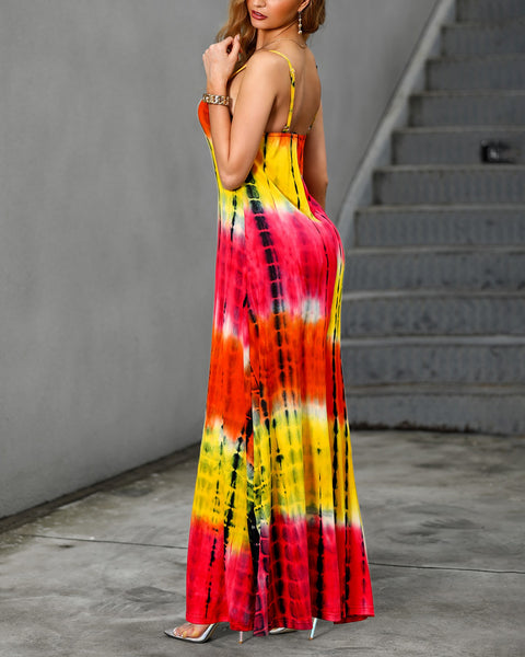 Halter Crop Top&Slit Skir Two Piece Maxi Dress