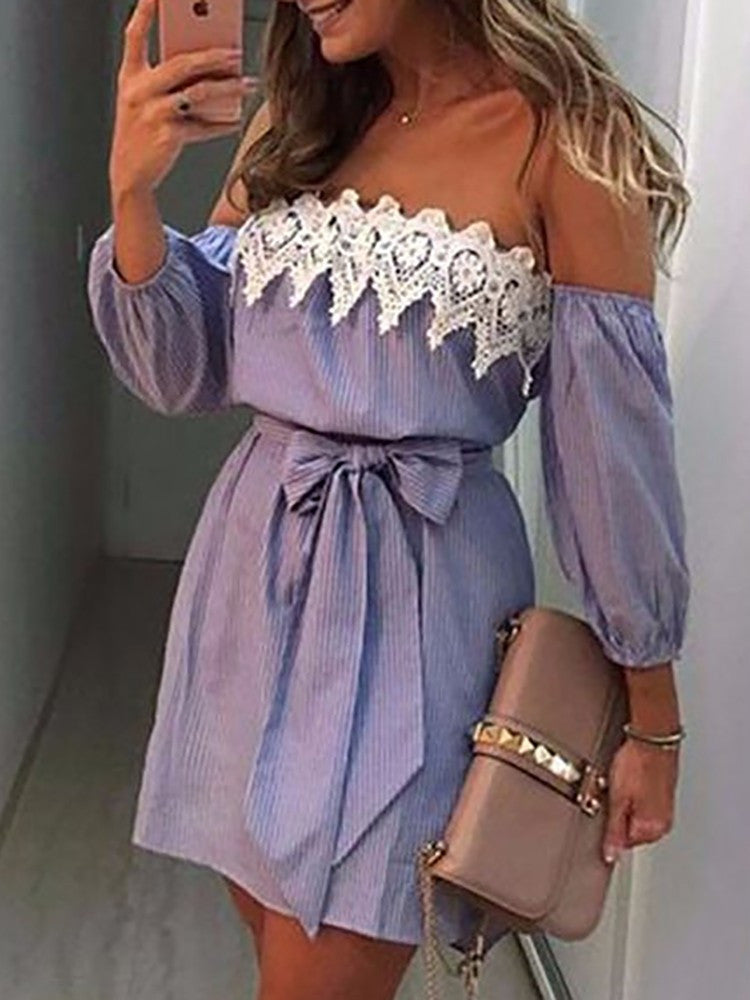 Sexy Off Shoulder Lace Bowknot Mini Dress