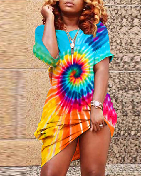 Colorful Tie Dye Print Casual Dress