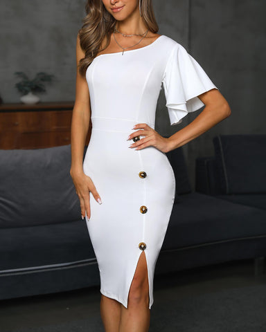 One Shoulder Ruffles Buttoned Slit Dress