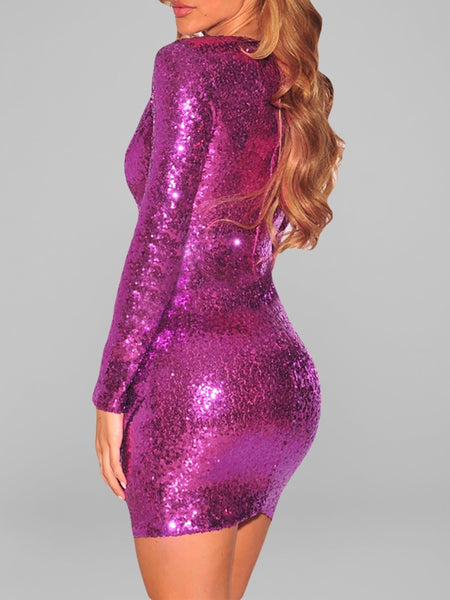 Ruched Sequin Long Sleeve Nightclub Dress