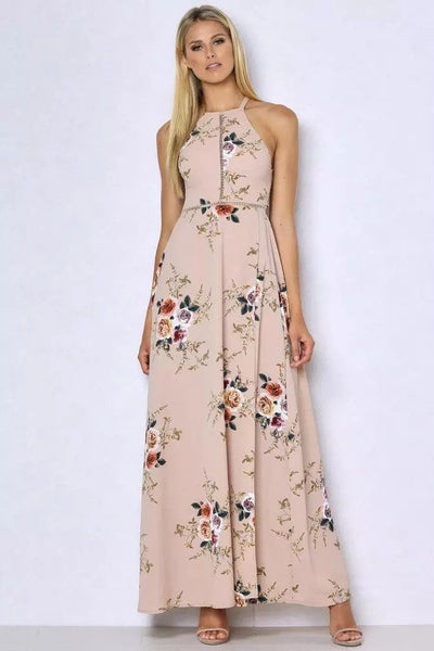 Khaki Floral Slit Maxi Dress