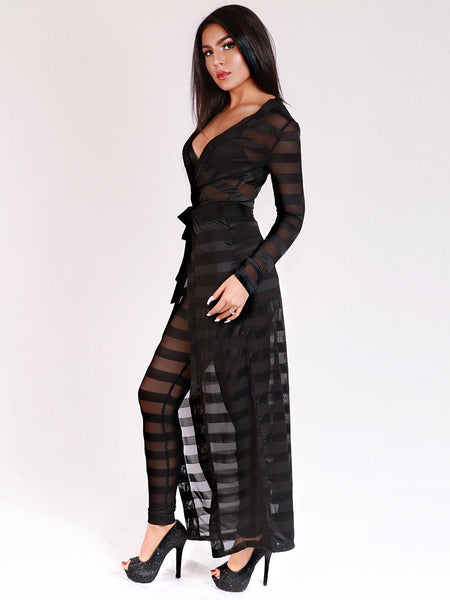 Fashion Women Black Lace Crochet Belted Long Coat With Pants Twinset