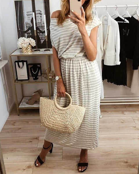 Striped Cowl Neck Casual Dress
