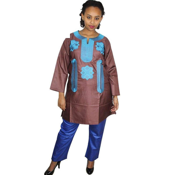 Women African Traditional Embroidery Top-Pants Dashiki Various colors X20617